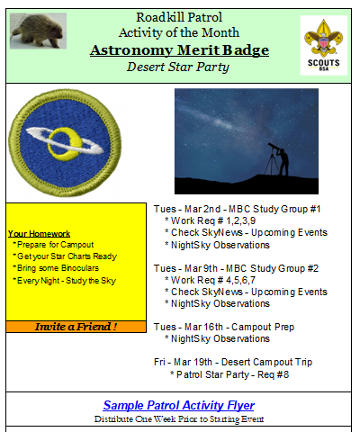Sample Patrol Activity Flyer
