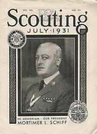 Schiff sur la couverture du Scouting Magazine, Juillet 1931