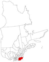 La région de l'Estrie dans la province de Québec