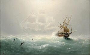 """The Flying Dutchman"" schilderij van de Amerikaanse schilder Charles Temple Dix."