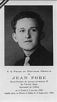 Faire-part de décès de de Jean Fobe-Willemot, rappelant son identité scoute.