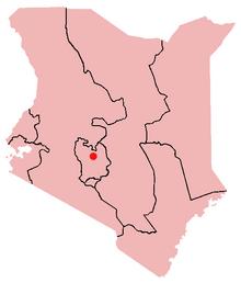 Location of Nyeri in Kenya