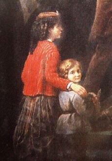 A portion of a painting showing a young girl in a red jacket and pleated black skirt with her arm draped over the shoulder of a young boy, who is dressed in a blue tunic and black pants and looks back over his shoulder at the viewer.