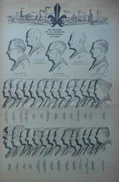 Les délégués de la conférence internationale du scoutisme à Rosny en 1947. Journal du Jam.
