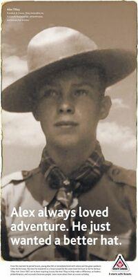 Prospectus des Scouts Canada rendant hommage à une anecdote bien connue