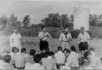 Le Père Liégé, Paul Rendu, Michel Rigal, Pierre Chesnais (de gauche à droite)