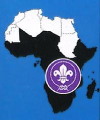 Badge régional de la région Afrique de l'OMMS. Les pays en noir sur la carte sont les membres (ou membres potentiels de la région). Les autres sont membres de la Région Arabe.