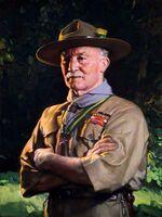 Lord Robert Baden-Powell en uniforme, peint par David Jagger. Tableau offert à BP par les scouts du monde au jamboree de 1929.
