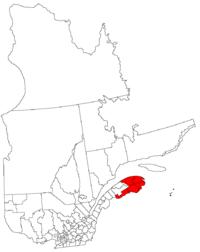 La région de la Gaspésie-Îles-de-la-Madeleine dans la province de Québec