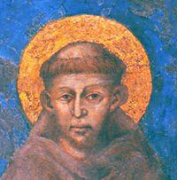 St François sur une fresque de Cimabue à Assise